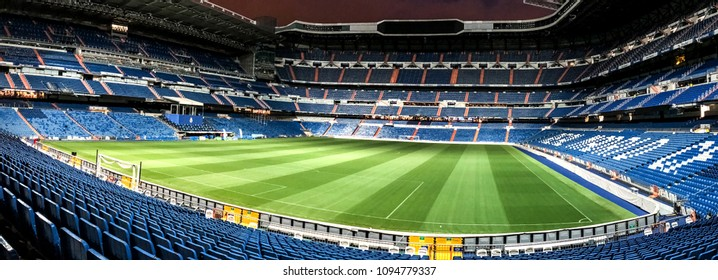 MADRID, SPAIN - MAY 17: Santiago Bernabeu Stadium of Real Madrid on May 17, 2018 in Madrid, Spain. Santiago Bernabeu Stadium at night. Real Madrid  is the best club of XX century according to FIFA.
