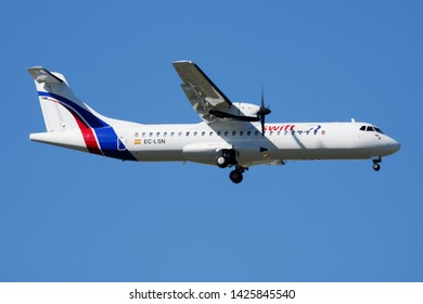 MADRID / SPAIN - MAY 2, 2016: Swiftair ATR-72 EC-LSN passenger plane landing at Madrid Barajas Airport