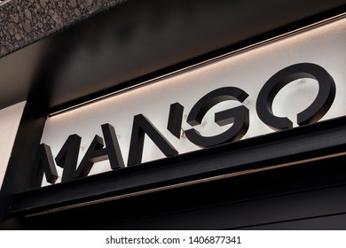 MADRID, SPAIN - MAY 2, 2019. Mango logon on Mango's shop. Mango is a spanish clothing manufacturing company