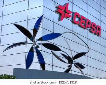 Madrid, Spain - May 20, 2017: CEPSA Tower in the Cuatro Torres Business Area. Crystal, Space, Pwc and CEPSA Towers are the tallest buldings in the country.