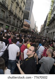 MADRID; SPAIN - MAY 20: Popular demonstration against political class on May 20; 2011 in Madrid; Spain. Claimers at a street at the center of the Spanish Revolution in Madrid.