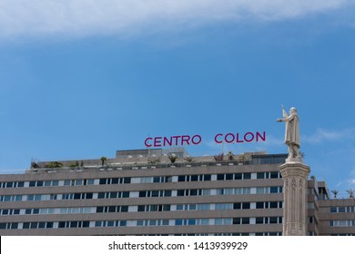 Madrid, Spain - May 21 2019: Statue of Colombus in front of centro colon in Madrid