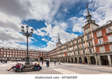 Madrid, Spain - May 22, 2014: People at the Plaza Mayor, the central square in Madrid, Spain. Architecture and landmark of Madrid.