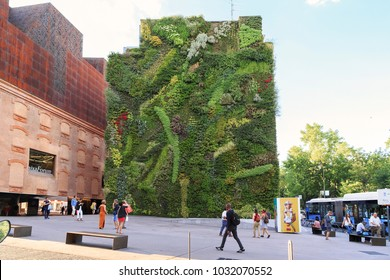 MADRID, SPAIN - MAY 24, 2017: This is a vertical garden on the Paseo del Prado Boulevard next to the contemporary art center.