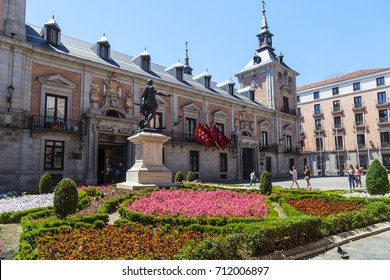 MADRID, SPAIN - MAY 24, 2017: Plaza de la Villa is one of the best preserved medieval architectural ensembles of the city.