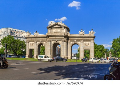MADRID, SPAIN - MAY 24, 2017: The Alcala Gate is a monument on Independence Square on the site of the same old city gate.