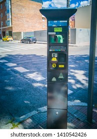 Madrid / Spain - May 25, 2019: A parking meter in Guzman El Bueno