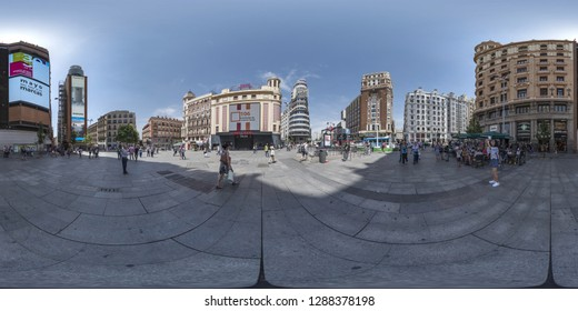 Madrid, Spain - May. 27. 2017: 360 degree spherical panorama. This is a photo of a very polular sector in Madrid, the famous Gran Via and Plaza Callao, photo of the content of VR AR