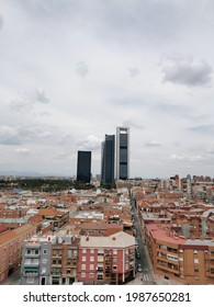 Madrid Spain. May 27, 2021. Side vertical shot from the south of the Paseo de la Castellana Towers in Madrid.