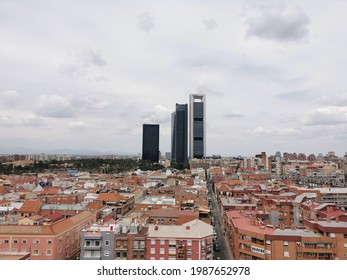 Madrid, Spain. May 27, 2021. Side horizontal shot from the south of the Paseo de la Castellana Towers in Madrid