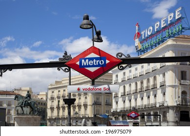 MADRID, SPAIN - MAY 28, 2014: Madrid city centre, Puerta del Sol square tube station,  one of the famous landmarks of the capital This is the 0 Km point of the radial network of Spanish roads.