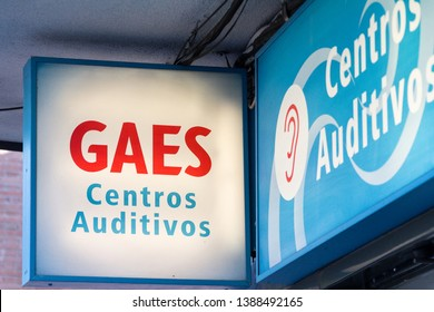 MADRID, SPAIN - MAY 3, 2019. Gaes logo on Gaes shop. Gaes is a spanish brand for auditory center