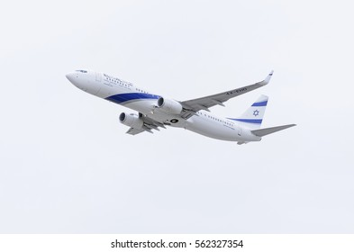 MADRID, SPAIN - MAY 3th 2015: Aircraft Boeing 737, of El Al Israel Airlines airline, is taking off from Madrid-Barajas Adolfo Suarez airport, on May 3th 2015. Israeli airliner. Cloudy day of spring.