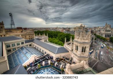 MADRID, SPAIN - MAY 4, 2015: Rooftop bar and lounge at Palacio de Cibeles in Madrid, Spain.