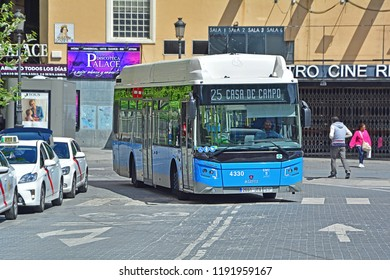 MADRID, SPAIN - MAY 4, 2018 - Scania Castrosuo CNG bus, operated by EMT Madrid, in the city centre of Madrid