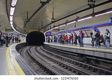 MADRID, SPAIN - MAY 4, 2018 - Sol station of Madrid Metro
