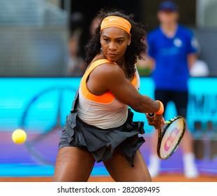 MADRID, SPAIN - MAY 4 :  Serena Williams in action at the 2015 Mutua Madrid Open WTA Premier Mandatory tennis tournament