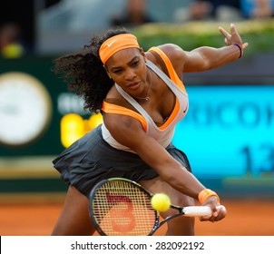 MADRID, SPAIN - MAY 4 :  Serena Williams in action at the 2015 Mutua Madrid Open WTA Premier Mandatory tennis tournament