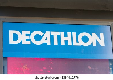 MADRID, SPAIN - MAY 5, 2019. Decathlon logo on Decathlon store. Decathlon is a French sporting goods retailer