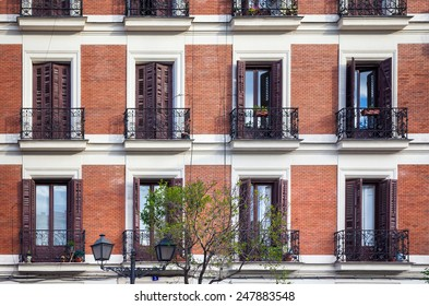Madrid, Spain - May 6, 2012: Typical building facade on a spring day in Madrid, Spain