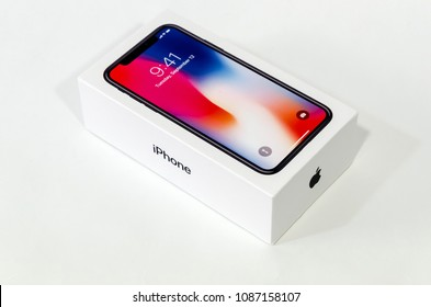 MADRID, SPAIN - MAY 9, 2018: an iPhone X close box saving his valuable content ready to unboxing. Iphone X is the most new Apple smart phone