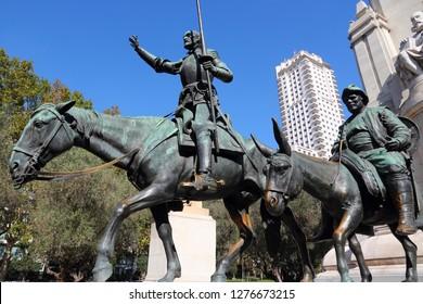 Madrid, Spain - monuments at Plaza de Espana. Fictional knight, Don Quixote and Sancho Pansa from Cervantes' story.