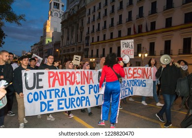 Madrid, Spain, Nov 11, 2018. Protest Against Racism. Protesters holding a banner against racist politics of the European Union during the demonstration.