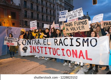 Madrid, Spain, Nov 11, 2018. Protest Against Racism. Protesters holding a banner against institutional racism during the demonstration.