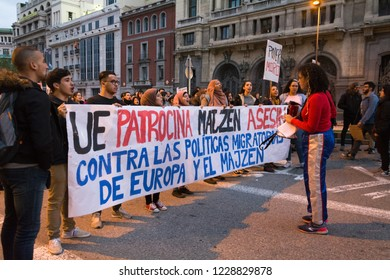 Madrid, Spain; Nov 11, 2018: Protest Against Racism. Protesters holding a banner against racist politics of the European Union during the demonstration.