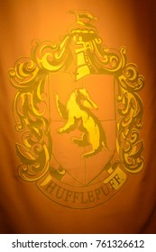 MADRID, SPAIN - NOV 22, 2017: Hufflepuff, symbol, Wizarding world of Harry Potter experience in Madrid, Spain