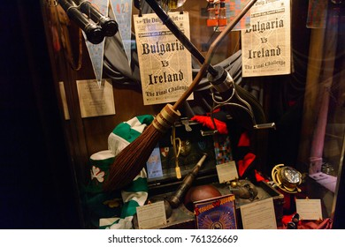 MADRID, SPAIN - NOV 22, 2017: Quidditch artefacts, Wizarding world of Harry Potter experience in Madrid, Spain