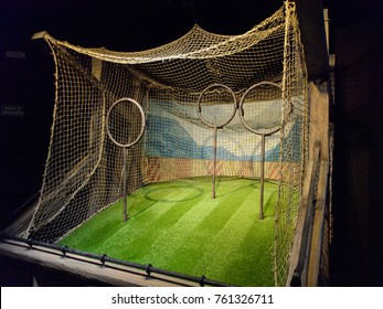 MADRID, SPAIN - NOV 22, 2017: Rings for quidditch, Wizarding world of Harry Potter experience in Madrid, Spain