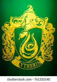 MADRID, SPAIN - NOV 22, 2017: Slytherin symbol, Wizarding world of Harry Potter experience in Madrid, Spain