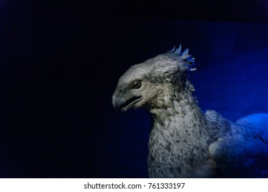 MADRID, SPAIN - NOV 22, 2017: Buckbeak creature, Wizarding world of Harry Poter experience in Madrid, Spain