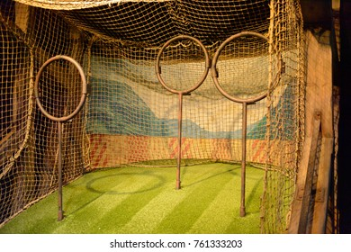 MADRID, SPAIN - NOV 22, 2017: Rings for quidditch, Wizarding world of Harry Poter experience in Madrid, Spain