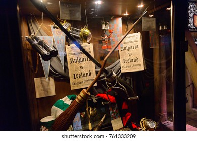 MADRID, SPAIN - NOV 22, 2017: Quidditch artefacts, Wizarding world of Harry Poter experience in Madrid, Spain