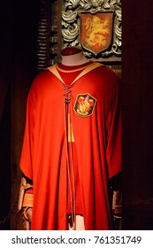 MADRID, SPAIN - NOV 22, 2017: Oliver Wood Quidditch uniform, Wizarding world of Harry Poter experience in Madrid, Spain