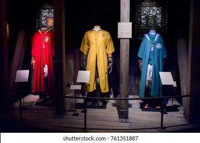 MADRID, SPAIN - NOV 22, 2017: Oliver Wood, Diggory and Draco Malfoy, Quidditch uniform, Wizarding world of Harry Poter experience in Madrid, Spain
