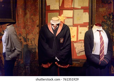 MADRID, SPAIN - NOV 22, 2017: Griffindor uniform, Wizarding world of Harry Poter experience in Madrid, Spain