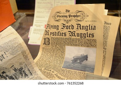 MADRID, SPAIN - NOV 22, 2017: Daily Prophet newspaper, Wizarding world of Harry Poter experience in Madrid, Spain