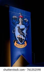 MADRID, SPAIN - NOV 22, 2017: Ravenclaw faculty logo, Wizarding world of Harry Poter experience in Madrid, Spain