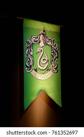 MADRID, SPAIN - NOV 22, 2017: Slytherin faculty logo, Wizarding world of Harry Poter experience in Madrid, Spain