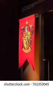 MADRID, SPAIN - NOV 22, 2017: Griffindor faculty logo, Wizarding world of Harry Poter experience in Madrid, Spain