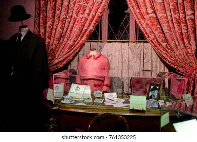 MADRID, SPAIN - NOV 22, 2017: Dolores Jane Umbridge costume, Senior Undersecretary to the Minister for Magic, Wizarding world of Harry Poter experience in Madrid, Spain