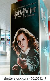 MADRID, SPAIN - NOV 22, 2017: Emma Watson as Hermione Granger on the Poster of the Wizarding world of Harry Poter experience in Madrid, Spain