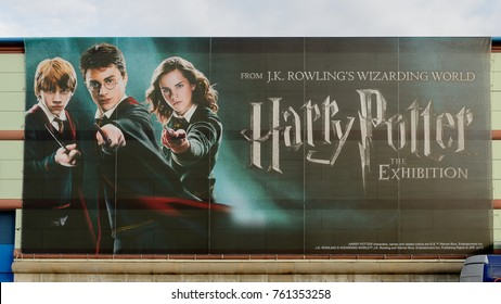 MADRID, SPAIN - NOV 22, 2017: Daniel Radcliffe, Emma Watson and Rupert Grint on the Poster of the Wizarding world of Harry Poter experience in Madrid, Spain