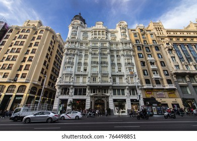 MADRID, SPAIN - November 01,2017. Gran Via is an ornate and upscale shopping street located in central Madrid.