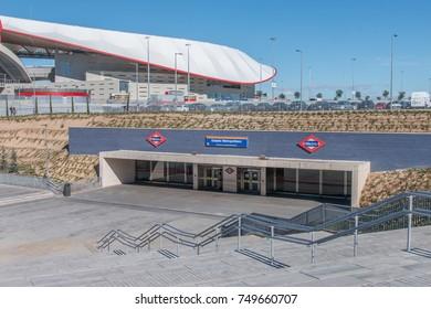 Madrid, Spain - November 06, 2017 - Estadio Metropolitano metro station in Madrid, placed next to Wanda Metropolitano Stadium