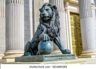 Madrid, Spain - November 10, 2019: Lion statue entrance to Congress of the Deputies Madrid Spain government building