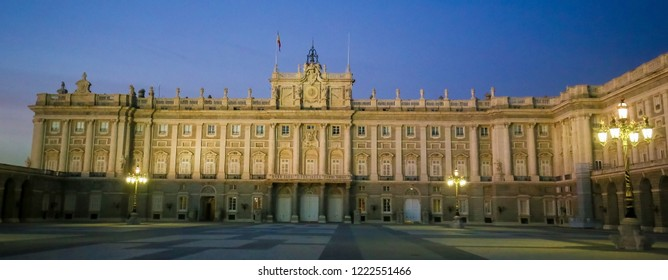 Madrid, Spain - November 13, 2015: View from the Plaza de la Armeria on the Royal Palace of Madrid (Palacio Real de Madrid) in the city of Madrid, Spain.